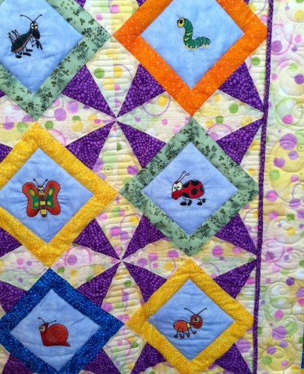 Embroidered Children's Quilt Willowlark